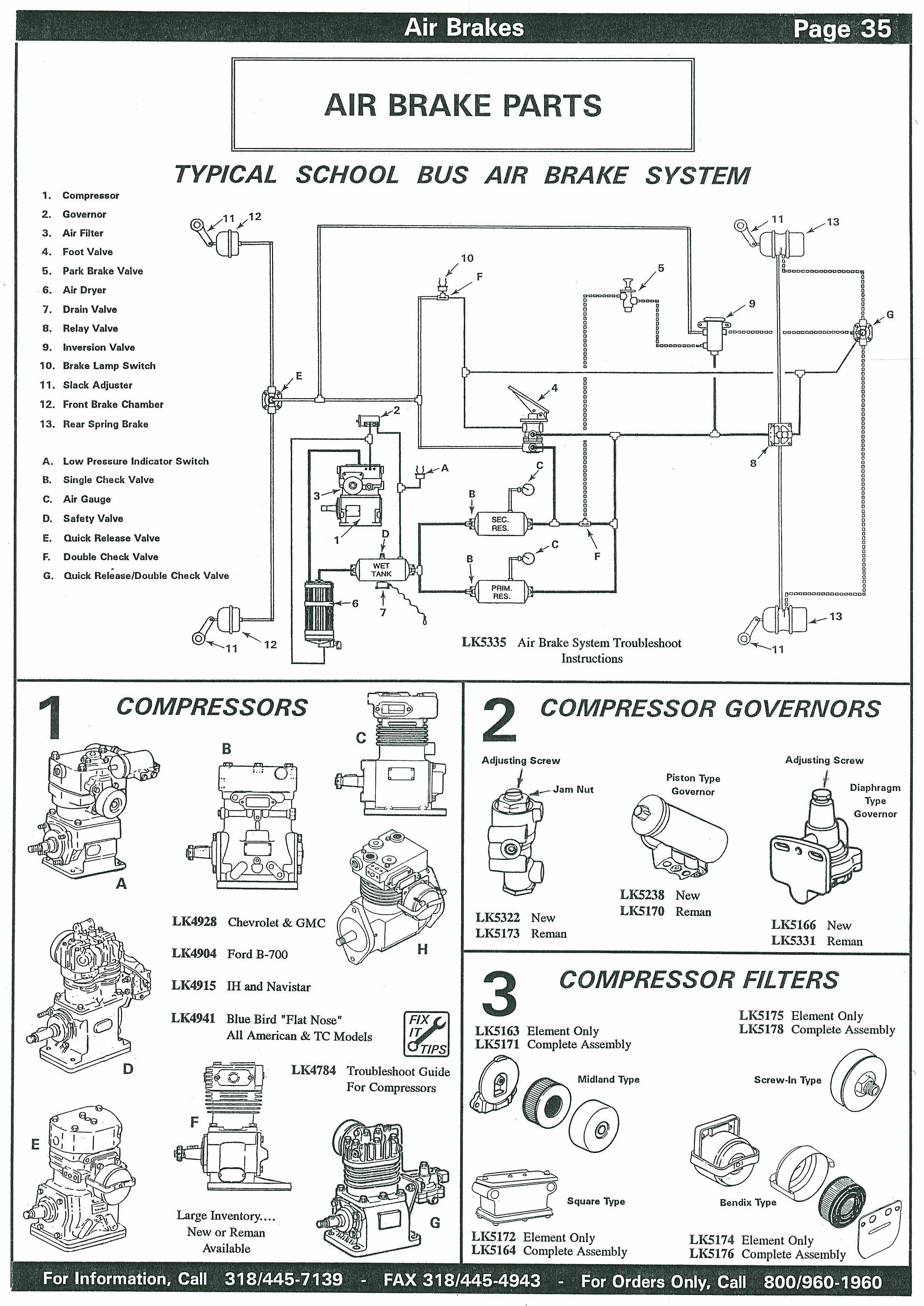 School Bus Air Brake Compressors